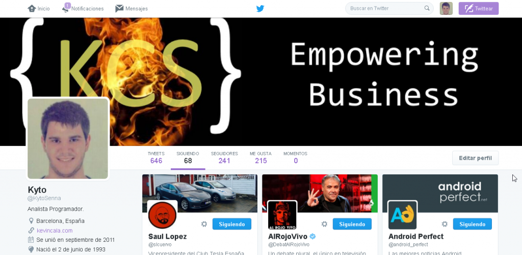 Twitter page following